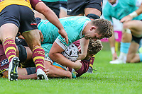 James Connolly of Nottingham Rugby scores a try during the Greene King IPA Championship match between Ampthill RUFC and Nottingham Rugby on Ampthill Rugby's Championship Debut at Dillingham Park, Woburn St, Ampthill, Bedford MK45 2HX, United Kingdom on 12 October 2019. Photo by David Horn.