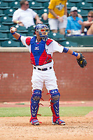 Chattanooga Lookouts catcher J.C. Boscan (15) throws the ball back to his pitcher during the game against the Montgomery Biscuits at AT&T Field on July 23, 2014 in Chattanooga, Tennessee.  The Lookouts defeated the Biscuits 6-5. (Brian Westerholt/Four Seam Images)