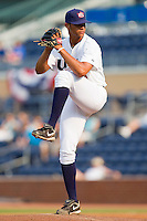 Relief pitcher Branden Kline #16 (Virginia) of the USA Baseball Collegiate National Team in action against the Japan Collegiate National Team at the Durham Bulls Athletic Park on July 3, 2011 in Durham, North Carolina.  USA defeated Japan 7-6.  (Brian Westerholt / Four Seam Images)