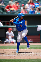 Iowa Cubs shortstop Ozzie Martinez (28) at bat during a game against the Memphis Redbirds on May 29, 2017 at AutoZone Park in Memphis, Tennessee.  Memphis defeated Iowa 6-5.  (Mike Janes/Four Seam Images)