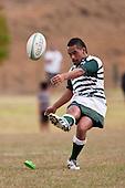 Iortiana Utopo kicks a penalty. Counties Manukau Premier Club Rugby game between Manurewa and Patumahoe played at Mountfort Park Manurewa on Saturday 3rd April 2010..Patumahoe won 26 - 8 after leading 14 - 3 at halftime.