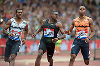 Winner of the Men's 100m Final Christian Coleman (United States) with Yohan Blake (Jamaica) and Zarnal Hughes (Great Britain) competing in the 100m competing in during the Muller Grand Prix  IAAF Diamond League meeting at Alexander Stadium, Perry Barr, Birmingham.<br /> Picture by Alan Stanford +44 7915 056117<br /> 18/08/2018