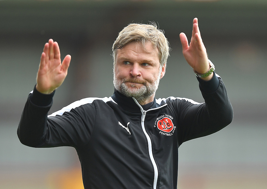 Fleetwood Town's Manager Steven Pressley celebrates escaping relegation<br /> <br /> Photographer Dave Howarth/CameraSport<br /> <br /> Football - The Football League Sky Bet League One - Fleetwood Town v Crewe Alexandra - Sunday 8th May 2016 - Highbury Stadium - Fleetwood    <br /> <br /> &copy; CameraSport - 43 Linden Ave. Countesthorpe. Leicester. England. LE8 5PG - Tel: +44 (0) 116 277 4147 - admin@camerasport.com - www.camerasport.com