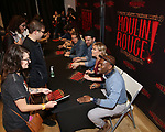 """Justin Levine, Ricky Rojas, Karen Olivo, Aaron Tveit, Tam Mutu, Robyn Hurder and Sahr Ngaujah during the """"Moulin Rouge! The Musical"""" - Vinyl Release signing at Sony Square on December 13, 2019 in New York City."""