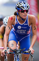 10 APR 2011 - SYDNEY, AUS - Helen Jenkins carries on after a crash during the women's ITU World Championship Series triathlon in Sydney, Australia  (PHOTO (C) NIGEL FARROW)