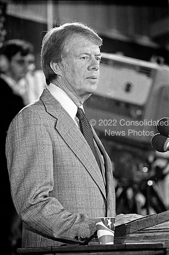 "United States President-elect Jimmy Carter holds a post-election press conference in Plains, Georgia on November 3, 1976.  <br /> Credit: Benjamin E. ""Gene"" Forte / CNP"
