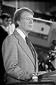 United States President-elect Jimmy Carter holds a post-election press conference in Plains, Georgia on November 3, 1976.  <br /> Credit: Benjamin E. &quot;Gene&quot; Forte / CNP