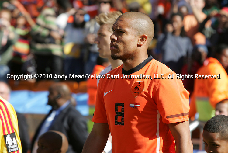 14 JUN 2010: Nigel de Jong (NED). The Netherlands National Team defeated the Denmark National Team 2-0 at Soccer City Stadium in Johannesburg, South Africa in a 2010 FIFA World Cup Group E match.