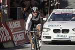 Fabian Cancellara (SUI) Trek Factory Racing crosses the finish line on Il Campo in Siena at the end of the 2014 Strade Bianche race over the white dusty gravel roads of Tuscany running 200km from San Gimignano to Siena, Italy. 8th March 2014.<br /> Picture: Eoin Clarke www.newsfile.ie