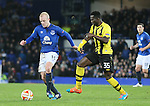 Steven Naismith of Everton tussles with Sekou Sanogo Junior of BSC Young Boys - UEFA Europa League Round of 32 Second Leg - Everton vs Young Boys - Goodison Park Stadium - Liverpool - England - 26th February 2015 - Picture Simon Bellis/Sportimage