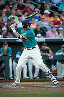 Kevin Woodall Jr. #19 of the Coastal Carolina Chanticleers bats during a College World Series Finals game between the Coastal Carolina Chanticleers and Arizona Wildcats at TD Ameritrade Park on June 27, 2016 in Omaha, Nebraska. (Brace Hemmelgarn/Four Seam Images)