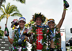 KONA, HAWAII - OCTOBER 14:  (L-R) 2nd Place Lucy Charles of Great Britain, 1st Place Daniela Ryf of Switzerland and 3rd Place Sarah Crowley of Australia celebrate during the 2017 IRONMAN World Championships on October 12, 2017 in Kona, Hawaii. (Photo by Donald Miralle for IRONMAN)
