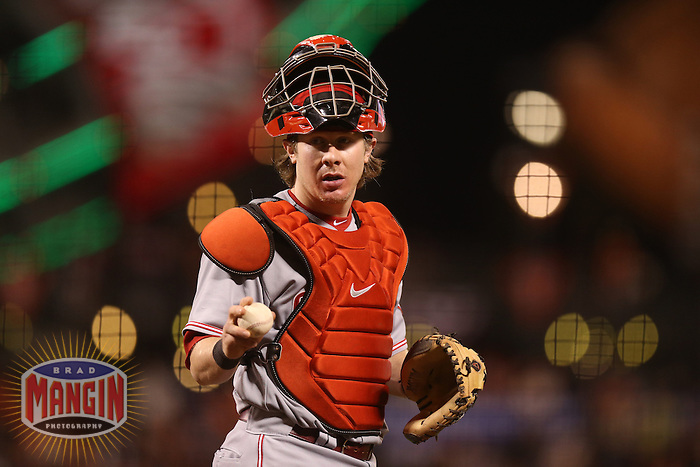 SAN FRANCISCO - OCTOBER 7:  Ryan Hanigan of the Cincinnati Reds works during Game 2 of the NLDS against the San Francisco Giants at AT&T Park on October 7, 2012 in San Francisco, California. (Photo by Brad Mangin)