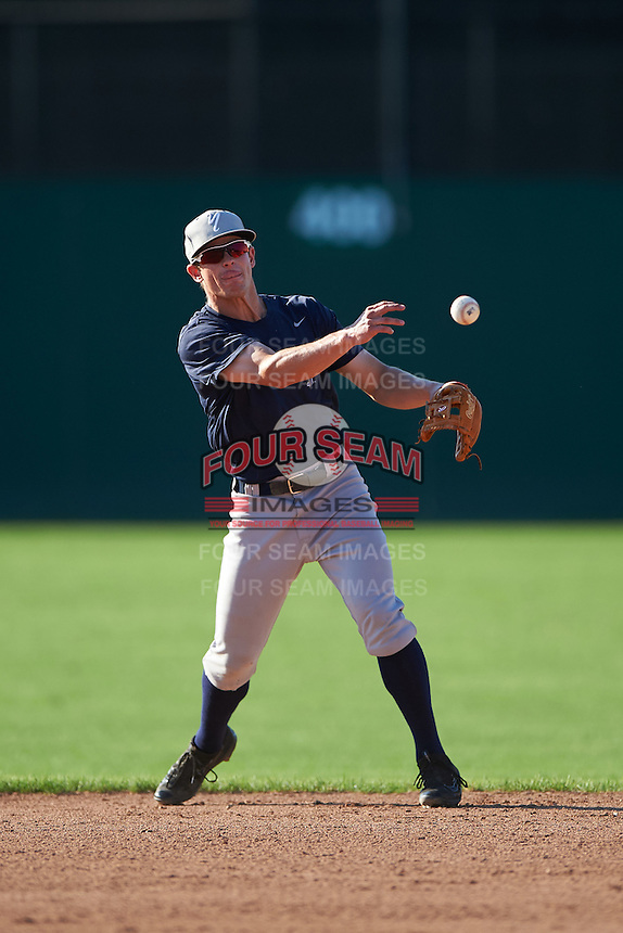 Staten Island Yankees second baseman Nick Solak (59) during practice before a game against the Batavia Muckdogs on August 27, 2016 at Dwyer Stadium in Batavia, New York.  Staten Island defeated Batavia 13-10 in eleven innings.  (Mike Janes/Four Seam Images)