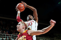 STANFORD, CA- FEBRUARY 9, 2012 - Nnemkadi Ogwumike battles on court during PAC-12 conference play against USC at Maples Pavilion on the Stanford campus. The Cardinal defeated the Trojans 69-52.