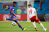 KAZAN - RUSIA, 24-06-2018: Piotr ZIELINSKI (Der) jugador de Polonia disputa el balón con Wilmar BARRIOS (Izq) jugador de Colombia durante partido de la primera fase, Grupo H, por la Copa Mundial de la FIFA Rusia 2018 jugado en el estadio Kazan Arena en Kazán, Rusia. /  Piotr ZIELINSKI (R) player of Polonia fights the ball with Wilmar BARRIOS (L) player of Colombia during match of the first phase, Group H, for the FIFA World Cup Russia 2018 played at Kazan Arena stadium in Kazan, Russia. Photo: VizzorImage / Julian Medina / Cont