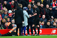 Chelsea manager Maurizio Sarri  protests to Referee Michael Oliver<br /> <br /> Photographer Richard Martin-Roberts/CameraSport<br /> <br /> The Premier League - Liverpool v Chelsea - Sunday 14th April 2019 - Anfield - Liverpool<br /> <br /> World Copyright © 2019 CameraSport. All rights reserved. 43 Linden Ave. Countesthorpe. Leicester. England. LE8 5PG - Tel: +44 (0) 116 277 4147 - admin@camerasport.com - www.camerasport.com
