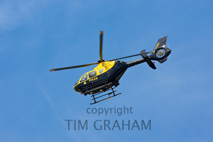 Police helicopter in flight over Gloucestershire, United Kingdom