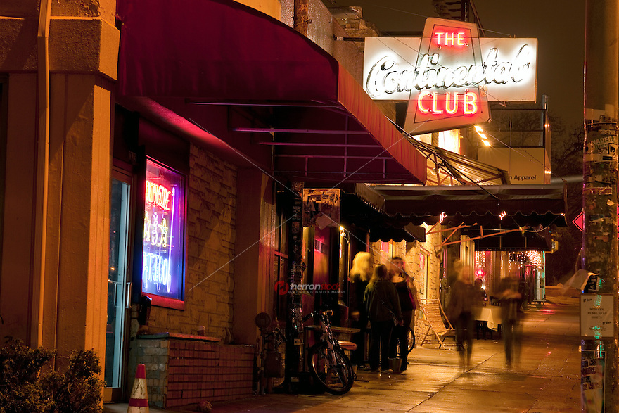 The Continental Club holds a coast-to-coast reputation as the premiere club for live music in Austin - Stock Image.