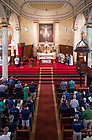 August 13, 2017; University of Notre Dame President Rev. John I. Jenkins, C.S.C., celebrates mass with the ND Trail pilgrims at the Basilica of St. Francis Xavier  in Vincennes, Indiana.  <br /> <br /> As part of the University&rsquo;s 175th anniversary celebration, the Notre Dame Trail will commemorate Father Sorin and the Holy Cross Brothers&rsquo; journey. A small group of pilgrims will make the entire 300+ mile journey from Vincennes to Notre Dame over  two weeks.  (Photo by Barbara Johnston/University of Notre Dame)