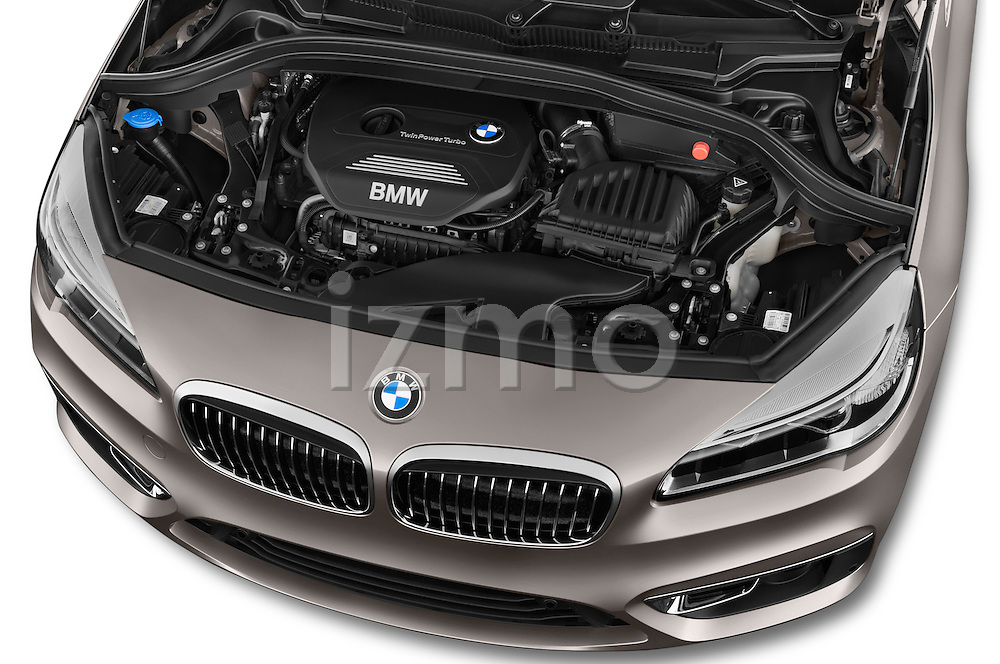 Car Stock 2015 BMW 2 Series 5 Door Mini MPV 2WD Engine high angle detail view