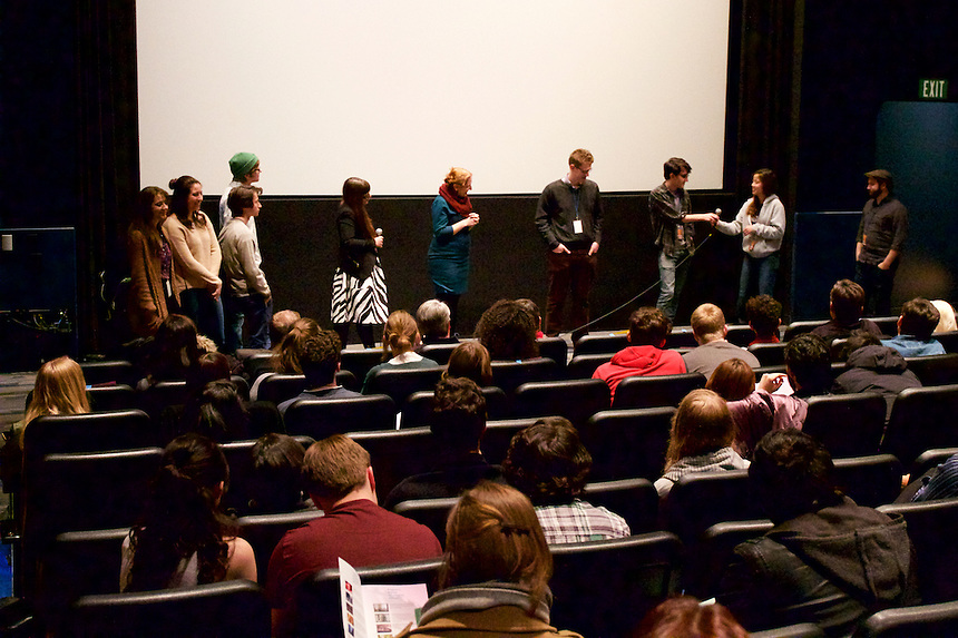 The student filmmakers during a Q&A at the Emerson Film Festival.