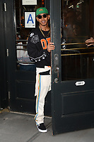 www.acepixs.com<br /> September 10, 2017 New York City<br /> <br /> Lewis Hamilton was seen leaving Balthazar in New York City on September 10, 2017.<br /> <br /> Credit: Kristin Callahan/ACE Pictures<br /> <br /> Tel: 646 769 0430<br /> Email: info@acepixs.com