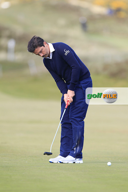 Mike Lorenzo-Vera (FRA) on the 8th green during Round 1 of the 2015 Dubai Duty Free Irish Open, Royal County Down Golf Club, Newcastle Co Down, Northern Ireland. 28/05/2015<br /> Picture Thos Caffrey, www.golffile.ie