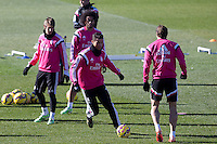 Cristiano Ronaldo, coentrao, Marcelo and Bale during a sesion training at Real Madrid City in Madrid. January 23, 2015. (ALTERPHOTOS/Caro Marin) /NortePhoto<br />