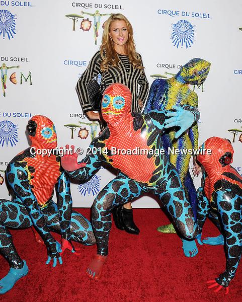 Pictured: Paris Hilton<br /> Mandatory Credit &copy; Gilbert Flores/Broadimage<br /> Cirque du Soleil Totem - Celebrity Opening <br /> <br /> 1/21/14, Santa Monica, California, United States of America<br /> <br /> Broadimage Newswire<br /> Los Angeles 1+  (310) 301-1027<br /> New York      1+  (646) 827-9134<br /> sales@broadimage.com<br /> http://www.broadimage.com