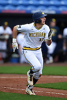 Michigan Wolverines catcher/infielder Drew Lugbauer (17) during the first game of a doubleheader against the Siena Saints on February 27, 2015 at Tradition Field in St. Lucie, Florida.  Michigan defeated Siena 6-2.  (Mike Janes/Four Seam Images)