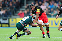 Mako Vunipola of Saracens takes on the Leicester Tigers defence. Aviva Premiership semi final, between Saracens and Leicester Tigers on May 21, 2016 at Allianz Park in London, England. Photo by: Patrick Khachfe / JMP
