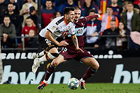 1st February 2020; Mestalla, Valencia, Spain; La Liga Football,Valencia versus Celta Vigo; Maxi Gomez of Valencia CF takes on Okay Yokuslu of Celta