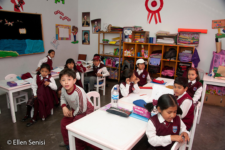 Arequipa, Peru. Hefziba, a parochial (Christian), private school for elementary and secondary school students. Class of elementary-school aged children (Peruvian) in their classroom. No MR. ID: AL-peru.