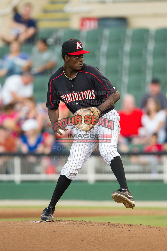 Kannapolis Intimidators starting pitcher Robinson Leyer (20) in action against the Delmarva Shorebirds at CMC-NorthEast Stadium on July 3, 2014 in Kannapolis, North Carolina.  The Shorebirds defeated the Intimidators 6-5. (Brian Westerholt/Four Seam Images)