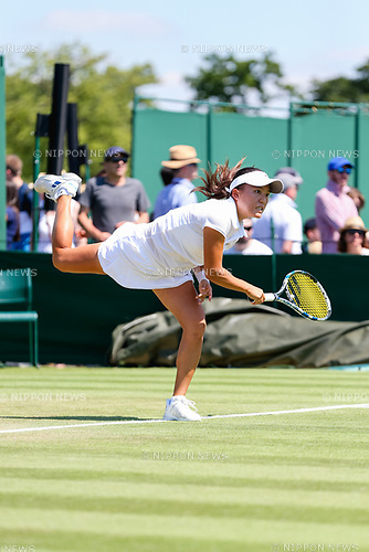 Makoto Ninomiya (JPN), JULY 5, 2017 - Tennis : Makoto Ninomiya of Japan during the Women's doubles first round match of the Wimbledon Lawn Tennis Championships against Julia Boserup and Christina McHale of the United States at the All England Lawn Tennis and Croquet Club in London, England. (Photo by AFLO)