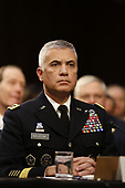 """Director General Paul Nakasone, National Security Agency (NSA) testifies before the United States Senate Select Committee on Intelligence during an open hearing on """"Worldwide Threats"""" on Capitol Hill in Washington, DC on Tuesday, January 29, 2019.<br /> Credit: Martin H. Simon / CNP"""