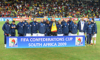 The USA squad at full-time after receiving their loser's medals. Brazil defeated USA 3-2 in the FIFA Confederations Cup Final at Ellis Park Stadium in Johannesburg, South Africa on June 28, 2009.