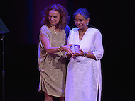 Washington, DC - June 17, 2014: Fashion designer Diane von Furstenberg presents the Human Rights Award to Priti Patkar (r) at the Vital Voices Global Leadership Awards at the John F. Kennedy Center in the District of Columbia, June 17, 2014.  (Photo by Don Baxter/Media Images International)