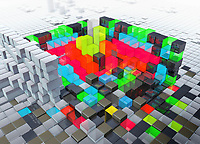 Abstract three dimensional structure with layers of building blocks