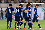 Muto Yoshinori of Japan (2nd L) celebrates scoring the team's first goal with teammates during the AFC Asian Cup UAE 2019 Group F match between Japan (JPN) and Uzbekistan (UZB) at Khalifa Bin Zayed Stadium on 17 January 2019 in Al Ain, United Arab Emirates. Photo by Marcio Rodrigo Machado / Power Sport Images