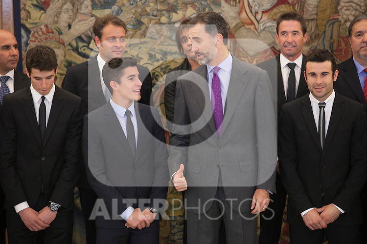 King Felipe VI of Spain receives moto riders Marc Marquez and Toni Bou during Royal Audience at Zarzuela Palace in Madrid, Spain. November 20, 2014. (ALTERPHOTOS/Victor Blanco)