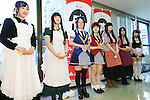 Maids participate in the annual ''Akihabara Vegetable Garden Project'' at the Japan Agricultural Newspaper building in Akihabara on June 15, 2016, Tokyo, Japan. The annual event organised by NPO group Licolita sees maids and volunteers from local cafes and stores joining the Akihabara Vegetable Garden Project. This year 7 Akihabara maids planted habanero, peppermint, bhut jolokia and coriander. (Photo by Rodrigo Reyes Marin/AFLO)