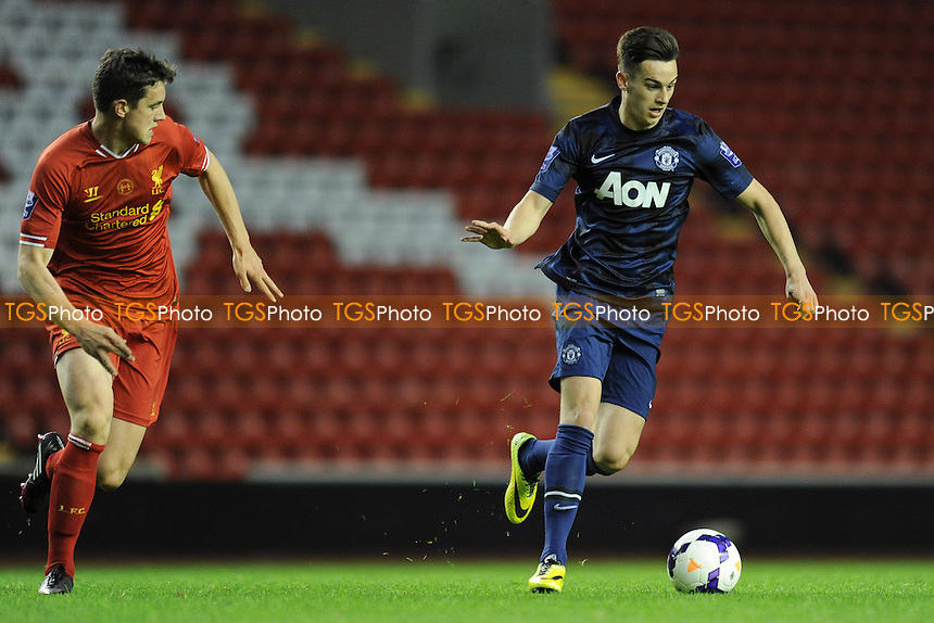 Tom Lawrence of Manchester United controls the ball - Liverpool Under-21 vs Manchester United Under-21 - Barclays Under-21 Premier League Football at Anfield, Liverpool - 02/05/14 - MANDATORY CREDIT: Greig Bertram/TGSPHOTO - Self billing applies where appropriate - 0845 094 6026 - contact@tgsphoto.co.uk - NO UNPAID USE
