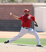 Greg Robinson #38 of the Arizona Diamondbacks plays in an extended spring training game against the Chicago Cubs at the Cubs minor league complex on April 22, 2011  in Mesa, Arizona..Photo by:  Bill Mitchell/Four Seam Images.