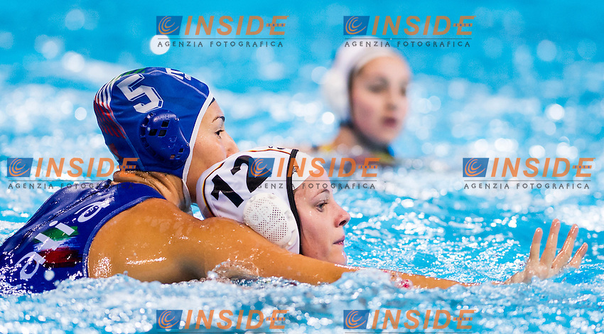 LEN European Water Polo Championships 2016<br /> Germany GER (White) Vs Italy ITA (Blue)<br /> Women<br /> 5 RADICCHI Federica ITA<br /> 12 EBELL Anika GER<br /> Kombank Arena, Belgrade, Serbia <br /> Day04  13-01-2016<br /> Photo P. Mesiano/Insidefoto/Deepbluemedia