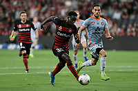 1st January 2020; Bankwest Stadium, Parramatta, New South Wales, Australia; Australian A League football, Western Sydney Wanderers versus Brisbane Roar; Mohamed Adam of Western Sydney Wanderers takes on Jack Hingert of Brisbane Roar - Editorial Use