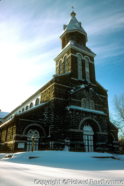 French Catholic church in Saint-Gabriel-de-Brandon Quebec in winter