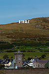 HOLLYWOOD STYLE SIGN FOR DINGLE....<br /> In the early hours of Sunday morning a massive 25ft high 'Hollywood' style sign with the word 'Dingle' was erected on a mountain top overlloking the pictuiresque fishing town to highlight the debate over the towns name change to An Daingean. <br /> Photo: Don MacMonagle<br /> Story by Anne Lucey