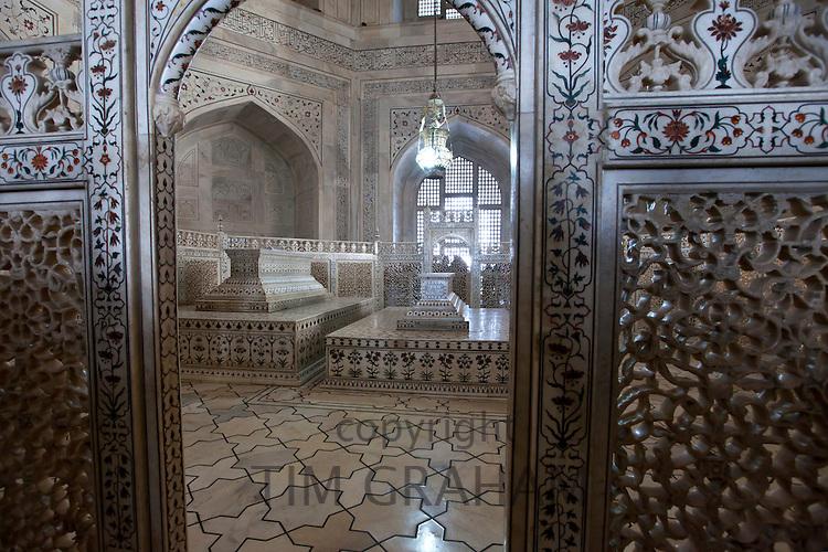 The Taj Mahal mausoleum marble tomb caskets of Shah Jahan and Mumtaz Mahal , Uttar Pradesh, India